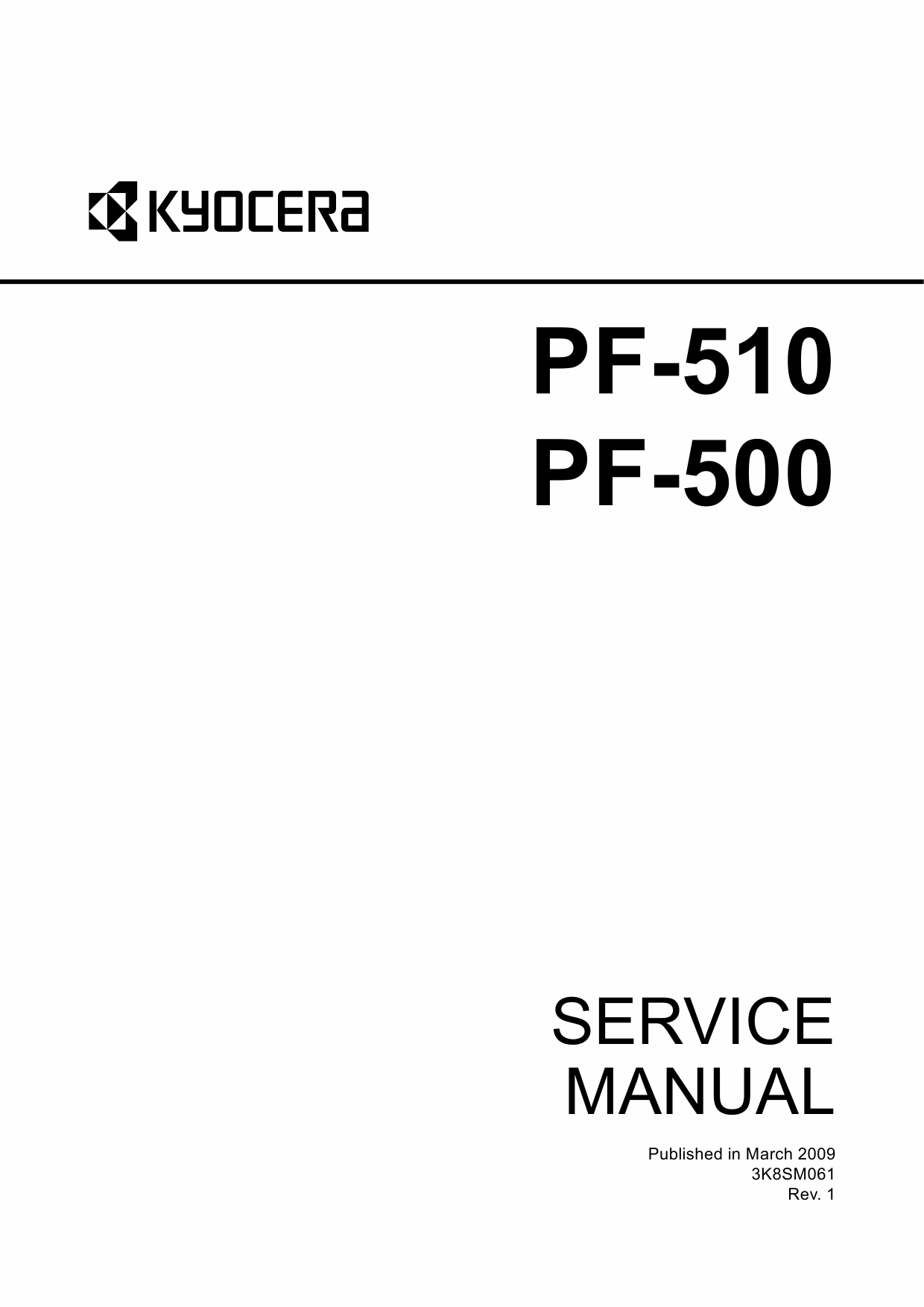 KYOCERA Options Paper-Feeder-PF-500 PF-510 Parts and Service Manual-1